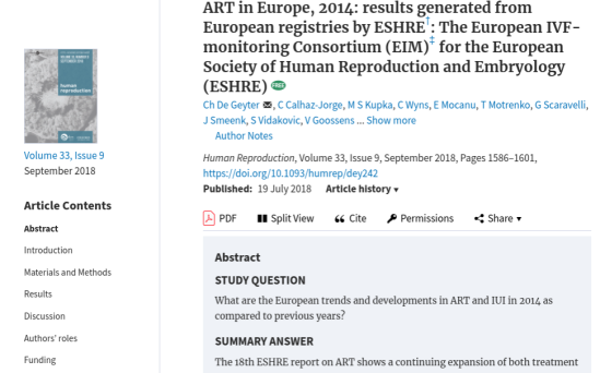 ESHRE 2014 Publication on ART in Europe - Edited